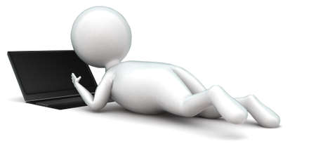 while: 3d man using laptop while lying on floor concept in white isolated background , back angle view