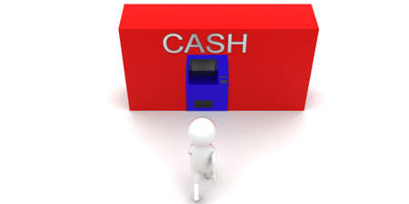machine man: 3d man walking to cash machine concept in white isolated background , side angle view
