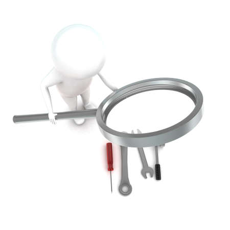 examining: 3d man holding a magnifier and examining tools onthe floor concept in white isolated background - 3d rendering ,  top angle view Stock Photo
