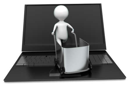 trolly: 3d man moving shopping trolly in laptop concept in white isolated background - 3d rendering ,  front angle view
