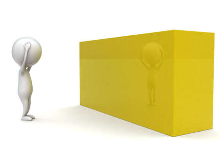 while: 3d man having headache while looking at yellow box concept in white isolated background - 3d rendering ,  side angle view