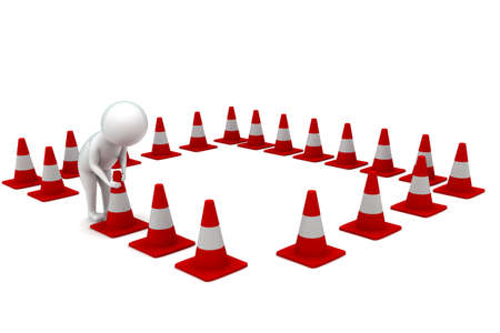 arranging: 3d man arranging traffic cones concept in white isolated background - 3d rendering ,  side angle view