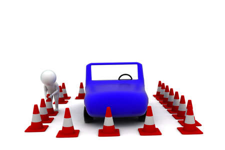 arranging: 3d man arranging traffic cone around car concept in white isolated background - 3d rendering ,  front angle view