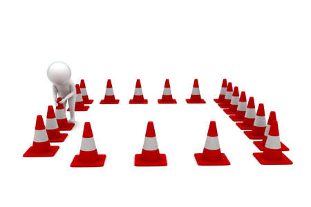 arranging: 3d man arranging traffic cones concept in white isolated background - 3d rendering ,  front angle view