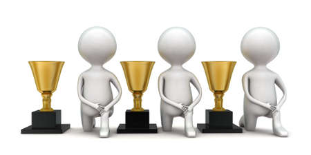 guy standing: 3d men standing near trophies concept in white isolated background - 3d rendering ,  front  angle view Stock Photo