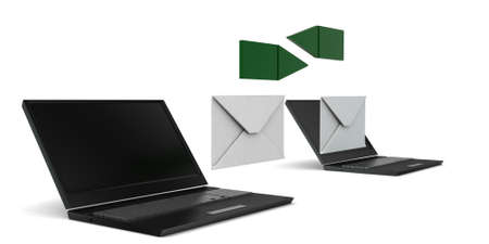 laptop computer: 3d message transfer betwwen computer - laptop concept in white isolated background - 3d rendering ,  side angle view