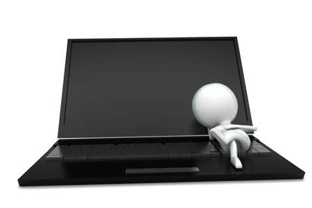 lying: 3d man lying on laptop concept in white isolated background - 3d rendering ,  front angle view