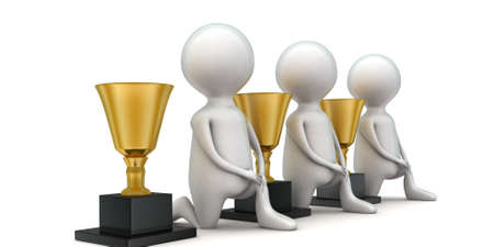 guy standing: 3d men standing near trophies concept in white isolated background - 3d rendering ,  side angle view