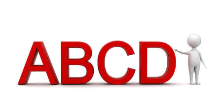 abcd: 3d man pointing towards abcd text concept in white isolated background - 3d rendering ,  front angle view