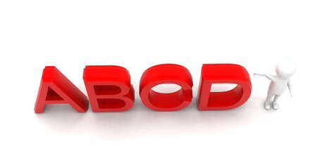 towards: 3d man pointing towards abcd text concept in white isolated background - 3d rendering ,  top angle view