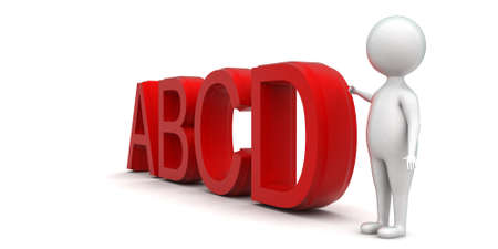 towards: 3d man pointing towards abcd text concept in white isolated background - 3d rendering ,  side angle view