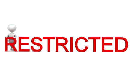 restricted: 3d man presenting restricted text concept in white isolated background - 3d rendering ,  front angle view