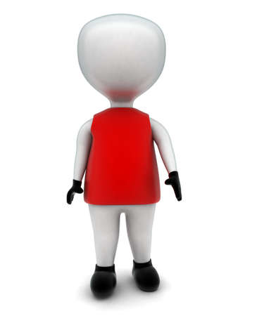 t shirt man: 3d man wearing t shirt , gloves and shoes concept inn white isolated background - 3d rendering ,  front  angle view