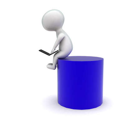 cylindrical: 3d man using laptop - sitting on a cylindrical shape concept in white isolated background - 3d rendering ,  side angle view