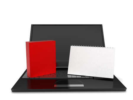 almanac: 3d laptop , calender and a red box concept in white isolated background - 3d rendering ,  front  angle view Stock Photo