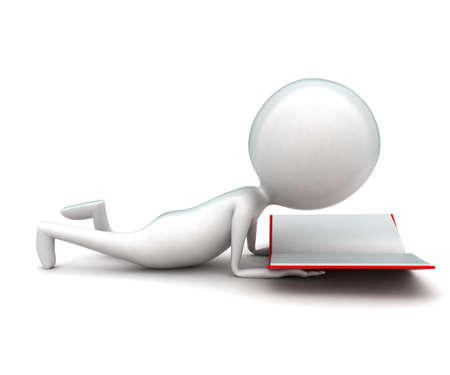 lying: 3d man lying on floor and reading book concept in white isolated background - 3d rendering ,  side angle view