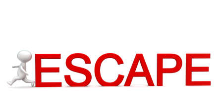 escape: 3d man running - escape text concept in white isolated background - 3d rendering ,  front angle view
