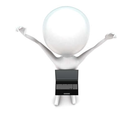 projected: 3d  man waving hands up - laptop projected from center of body concept in white isolated background - 3d rendering ,  top angle view