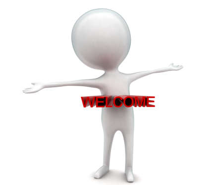 projected: 3d man waving hand - welcome text projected from body concept in white isolated background - 3d rendering ,  front angle view