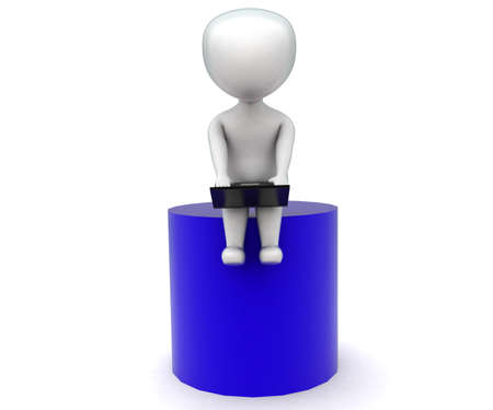 cylindrical: 3d man using laptop - sitting on a cylindrical shape concept in white isolated background - 3d rendering ,   front angle view