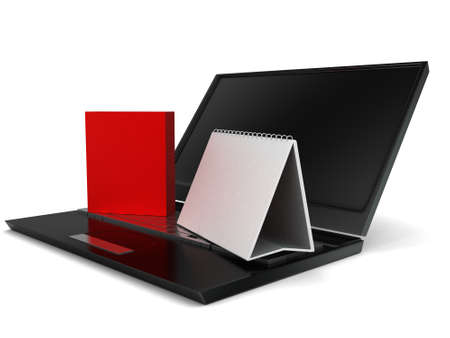 almanac: 3d laptop , calender and a red box concept in white isolated background - 3d rendering ,  side angle view Stock Photo
