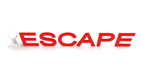 escape: 3d man running - escape text concept in white isolated background - 3d rendering ,  top angle view