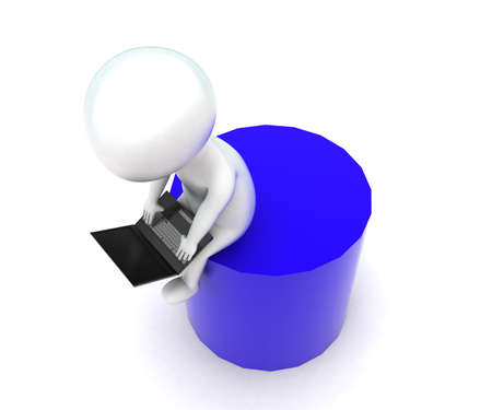 cylindrical: 3d man using laptop - sitting on a cylindrical shape concept in white isolated background - 3d rendering ,  top angle view