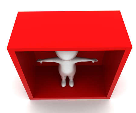 each: 3d man waving hands each direction inside a box concept in white isolated background - 3d rendering ,  top  angle view