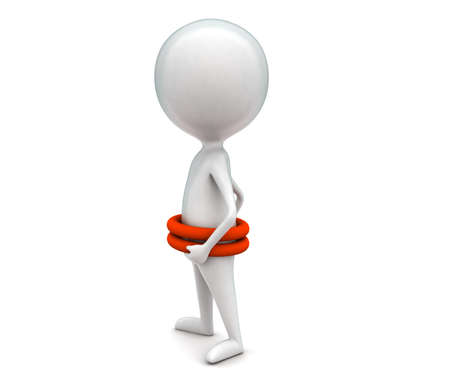 floater: 3d man wearing double life floater concept in white isolated background - 3d rendering ,  side angle view