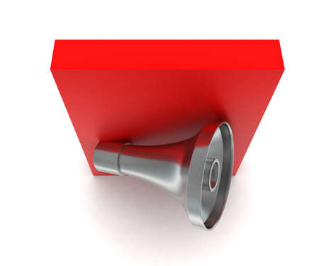 over: 3d megaphone over red box concept in white isolated background - 3d rendering ,  top angle view