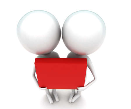 togheter: 3d men holding a red box togheter concept in white isolated background - 3d rendering ,   top angle view Stock Photo