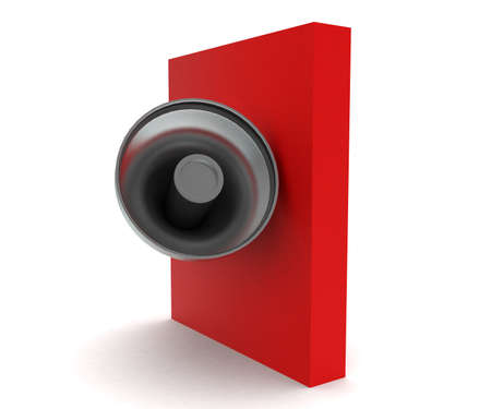 over: 3d megaphone over red box concept in white isolated background - 3d rendering ,  side angle view