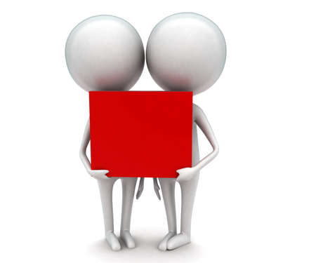 togheter: 3d men holding a red box togheter concept in white isolated background - 3d rendering ,  front  angle view