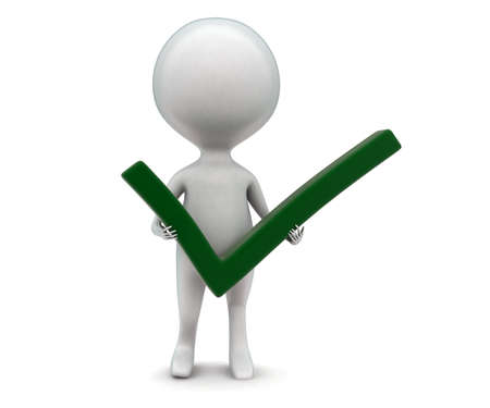 green tick: 3d man holding green tick in hand concept  in white isolated background - 3d rendering ,  front angle view