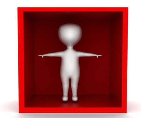 each: 3d man waving hands each direction inside a box concept in white isolated background - 3d rendering ,  front  angle view
