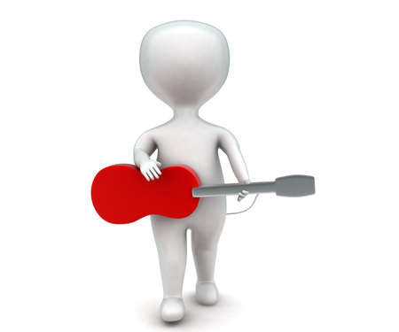 man playing guitar: 3d man playing guitar concept in white isolated background - 3d rendering ,   front angle view