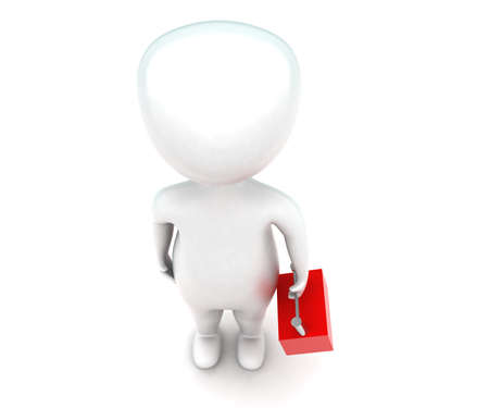 handy man: 3d man holding a handy box concept in white isolated background - 3d rendering ,  top angle view Stock Photo