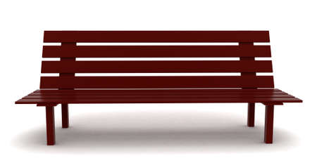 wooden bench: 3d wooden bench concept in white isolated background - 3d rendering ,  front angle view
