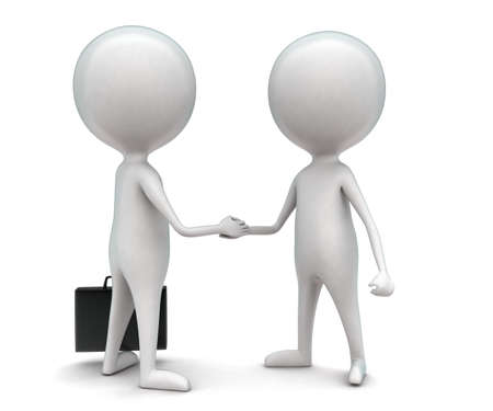 eachother: 3d men handshaking eachother concept in white isolated background - 3d rendering ,  front angle view