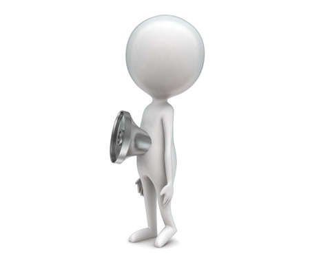 projected: 3d man with loudspeaker projected on body concept in white isolated background - 3d rendering ,  side angle view