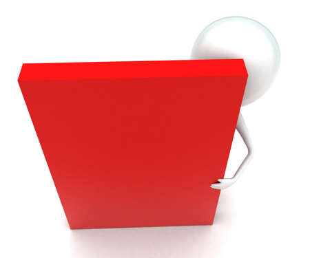 behind: 3d man standing behind red box concept in white isolated background - 3d rendering ,  top angle view