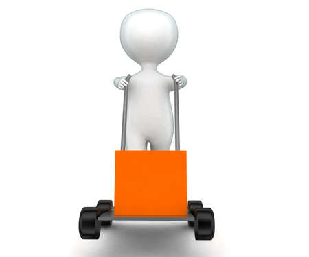 moving in: 3d man moving trolley  concept in white isolated background - 3d rendering ,  front angle view Stock Photo