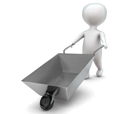 moving in: 3d man moving a cart concept in white isolated background - 3d rendering ,  front angle view
