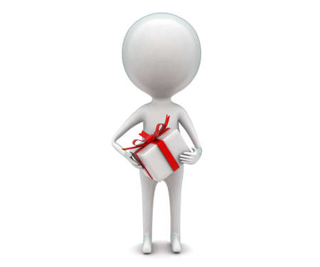 gift wrapped: 3d manholding ribbon wrapped gift concept in white isolated background - 3d rendering ,  front angle view