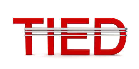 tied: 3d tied text tied using rope concept in white isolated background - 3d rendering ,  front angle view