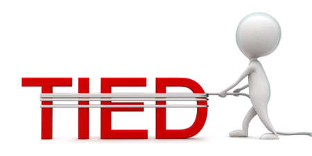 tied: 3d man tieng tied text using rope concept in white isolated background - 3d rendering ,  front angle view Stock Photo