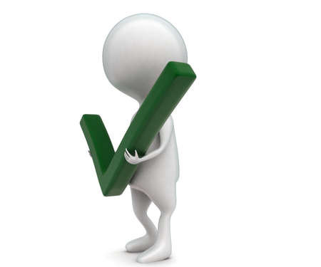 green tick: 3d man holding green tick in hand concept  in white isolated background - 3d rendering ,  side angle view