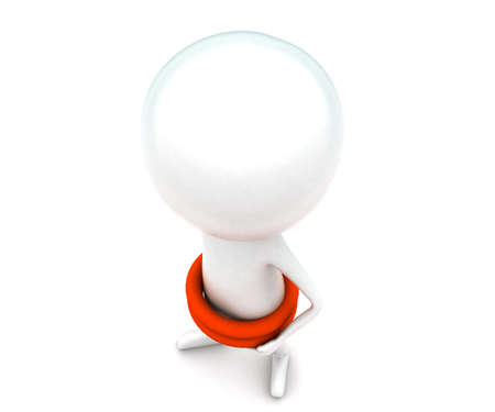 floater: 3d man wearing double life floater concept in white isolated background - 3d rendering ,  top angle view