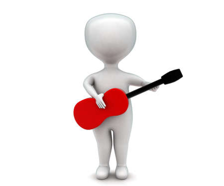 man playing guitar: 3d man playing guitar concept in white isolated background - 3d rendering ,  front angle view Stock Photo