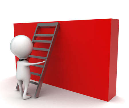 climbing wall: 3d man climbing up wall using ladder concept in white isolated background - 3d rendering ,   side angle view